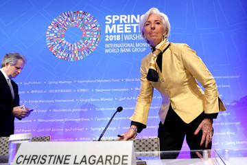International Monetary Fund (IMF) Managing Director Christine Lagarde and IMF Deputy Managing Director David Lipton leave after an opening news conference ahead of the IMF/World Bank spring meeting in Washington