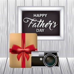 gift box red bow signboard camera grunge background happy fathers day vector illustration