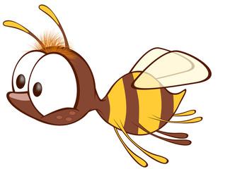 Aluminium Prints Baby room Illustration of a Cute Yellow Bee. Cartoon Character