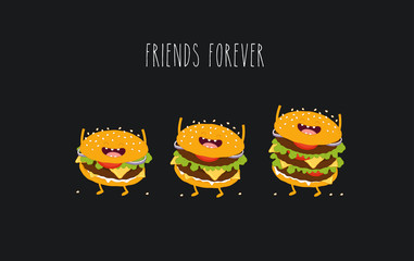 This is a vector illustration. Three sizes hamburgers are friends forever. You can use for cards, fridge magnets, stickers, posters.