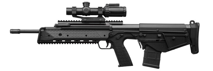 Modern rifle with an optical sight isolated on white