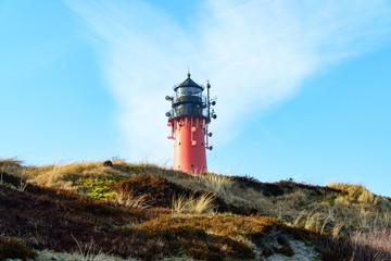 Leuchtturm in einer Düne auf der Insel Sylt