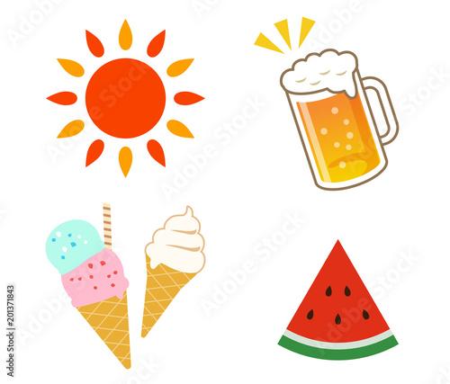 夏のイラスト 冷たい食べ物飲み物セットfotoliacom の ストック画像