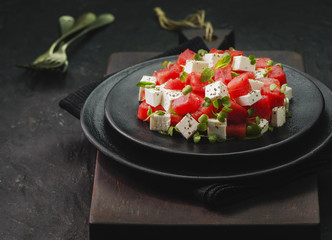 Summer salad of watermelon,feta cheese,fresh mint leaves and micro greens.Close-up with copy space.