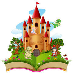 Castle with dragon and a knight in the storybook
