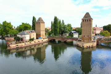strasbourg, medieval bridge pont couverts - view from barrage vauban, alsace, france