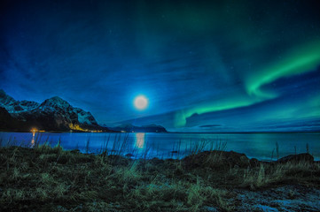 Northern lights over mountains, Vareid, Flakstad, Nordland, Norway