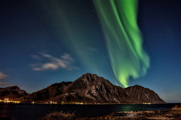 Northern lights over mountains, Napp, Flakstad, Nordland, Norway