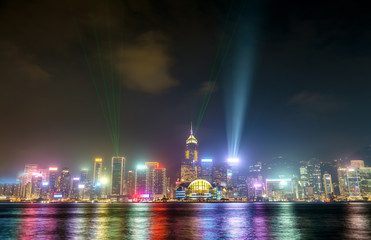 Hong Kong skyline at night with a laser light show. China
