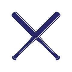 Baseball crossed bats. Criss cross bats. Flat vector illustration