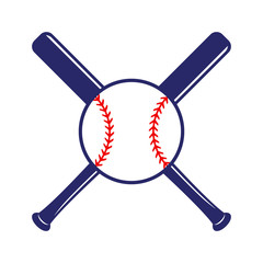 Baseball crossed bats with ball. Criss cross bats. Flat vector illustration