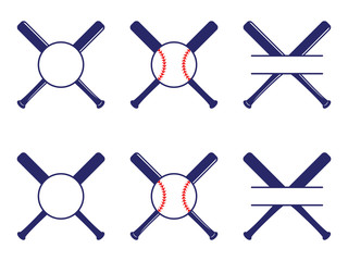 Vector set with baseball logos, split and circle monograms. Baseball crossed bats. Criss cross bats. Flat vector illustration