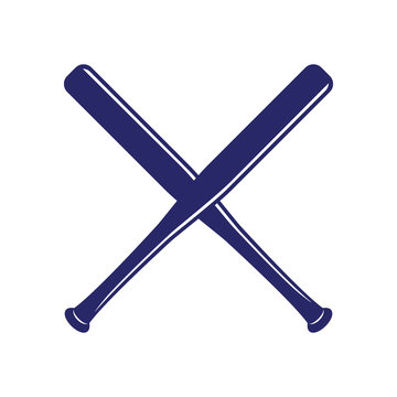 Baseball crossed bats. Criss cross bats. Flat vector illustration