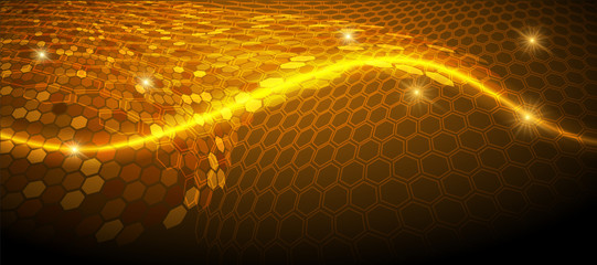 Glowing background with hexagon pattern surface