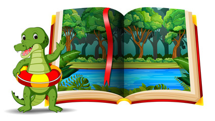 forest scene in the book and crocodile