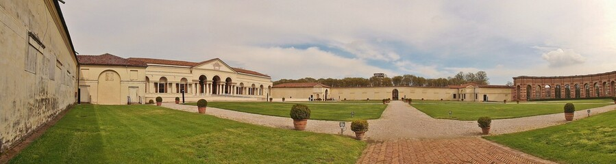 Panorama picture of Palazzo del Te, built in mannerist style. Built in 1524 for Federico II Gonzaga. Architect: Giulio Romano. Mantua, Lombardy, Northern Italy, South Europe.