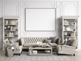 Classic interior room with copy space 3d rendering