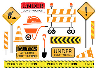 under construction sign and icon set
