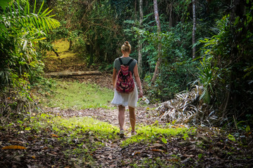 Traveler woman with backpack walking on path in the tropical forest,