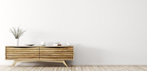 Modern interior with wooden dresser 3d rendering