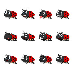 Ladybug with different facial expressions