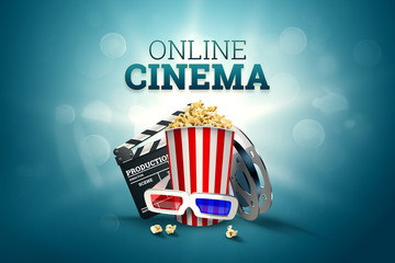 Online movies, cinemas, an image of popcorn, 3d glasses, a movie film and a blackboard on a blue background. The concept of a cinema on the Internet, a mobile cinema, a movie time.