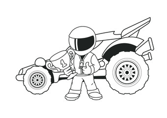 Champion Racer with a Golden Cup and His Racing Car. Coloring Book. Line Art.
