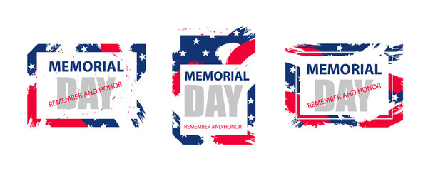 Modern colorful frame for Memorial Day USA. Dynamic design elements for a flyer, sale, brochures, presentations, party etc. Vector