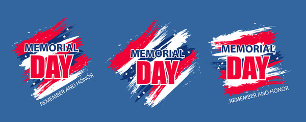 Set modern background for Memorial Day USA. Dynamic design elements for a flyer, sale, brochures, presentations, party etc. Vector