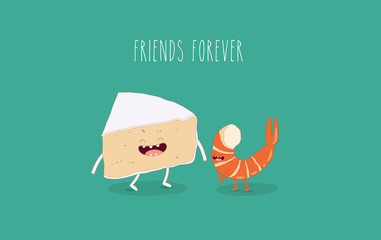 This is vector illustrations. The fanny piece of cheese and shrimp. You can use for cards, fridge magnets, stickers, posters or restaurant menu.