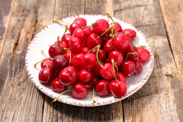cherry fruit and leaf