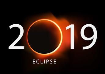 2019 - éclipse - soleil - solaire - calendrier - lune - présentation - astronomie - affiche - phénomène