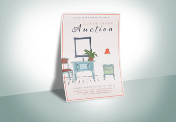 Poster Layout with Furniture Illustrations