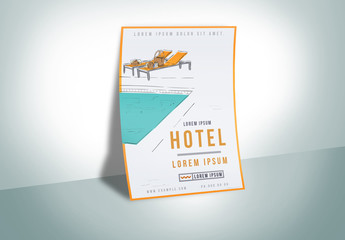 Poster Layout with Pool Illustration