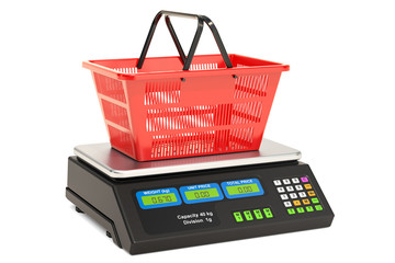 Price computing scale with shopping basket, 3D rendering