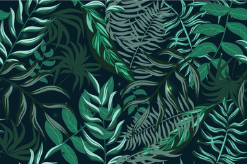 Seamless tropical vector pattern for textiles, packaging, Wallpapers, covers. Green palm leaves