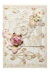 Postcard in the style of scrapbooking with a rose flower. Watch and butterfly.Ornament and pattern. The concept of handwork