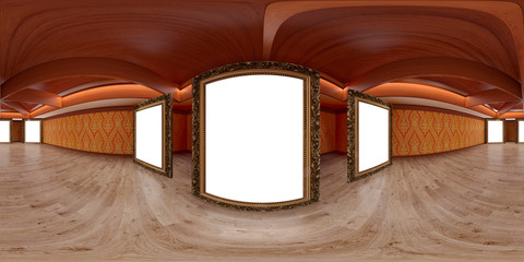 3d illustration spherical 360 vr degrees, a seamless panorama of the room and the room of thai style design with clipping mask (3D rendering)