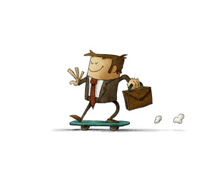 businessman with a briefcase in his hand is riding on a skateboard. isolated