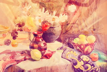Still life. Watercolor with fruits and patterned cloth. Hand drawn. Candid.