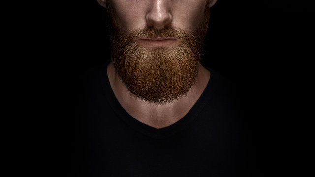Perfect beard. Close-up of young bearded man standing against black background