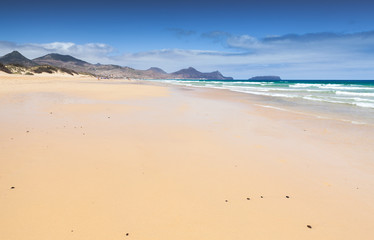 Empty sandy beach landscape Porto Santo