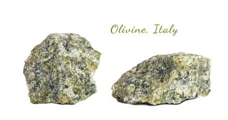 Macro shooting of natural gemstone. Raw mineral olivine. Italy. Isolated object on a white background.