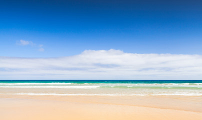 Sandy beach landscape. Porto Santo isalnd