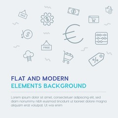 business, money, shopping outline vector icons and elements background concept on grey background...Multipurpose use on websites, presentations, brochures and more