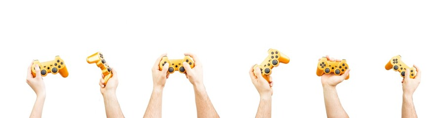 Bunch Of Hands Holding Joystick Isolated On White Background