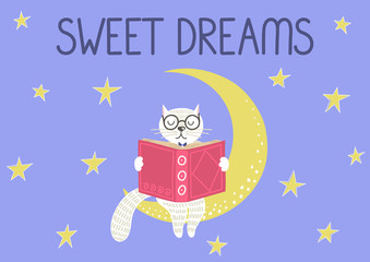 Sweet dreams. Cute smart white cat reading on the moon under blue starry sky. Story time, bedtime stories concept. Vector illustration.