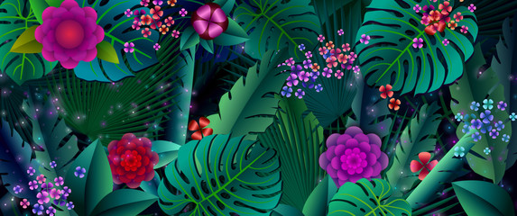 Fireflies and glowing flowers are in the dark forest. Fairy forest.