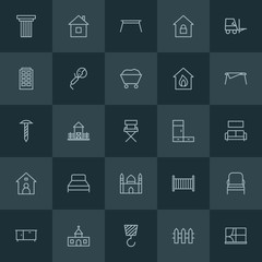 Modern Simple Set of industry, buildings, furniture Vector outline Icons. ..Contains such Icons as  house,  child,  illustration,  building and more on dark background. Fully Editable. Pixel Perfect.