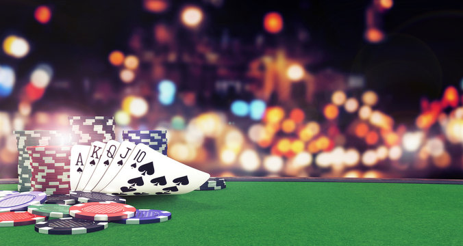 Poker flush royal background with casino chips on green table 3D Rendering